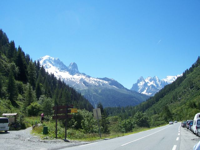 Mont Blanc view from Col des Montets,cycling tour partner wanted